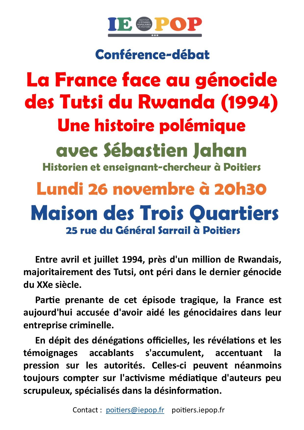La France face au génocide des Tutsis du Rwanda : une histoire polémique @ Maison des Trois Quartiers   Roubaix   Hauts-de-France   France