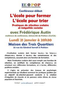 L'école pour former, l'école pour trier - Pratiques de sélection scolaire et inégalités sociales @ Maison des 3 Quartiers | Poitiers | Nouvelle-Aquitaine | France