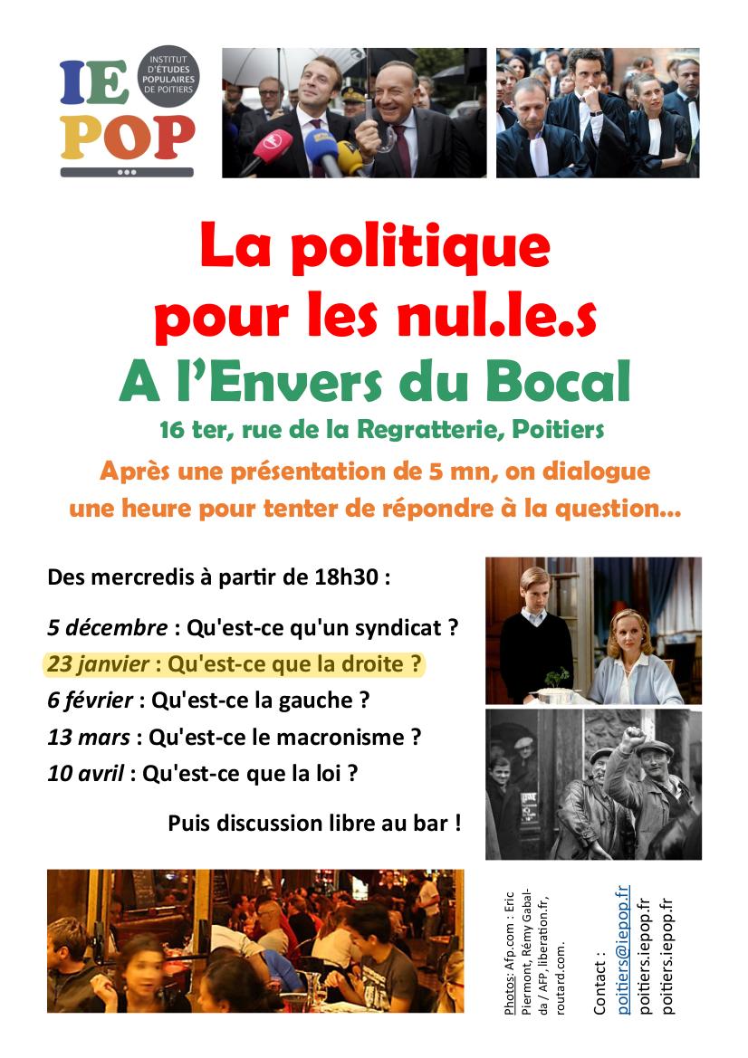 Qu'est-ce que la gauche ? La politique pour les nul·le·s, y-un rendez-vous de l'IEPOP Poitiers @ L'Envers du Bocal