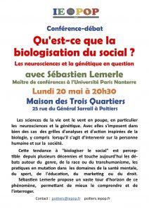 Qu'est-ce que la biologisation du social ? @ M3Q - Maison des Trois Quartiers | Poitiers | Nouvelle-Aquitaine | France