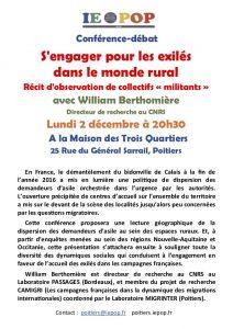 S'engager pour les exilés dans le monde rural.  Récit d'observation de collectifs « militants » @ M3Q - Maison des Trois Quartiers | Poitiers | Nouvelle-Aquitaine | France