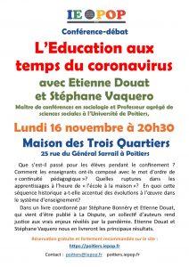 L'éducation aux temps du coronavirus @ Maison des Trois Quartiers | Poitiers | Nouvelle-Aquitaine | France